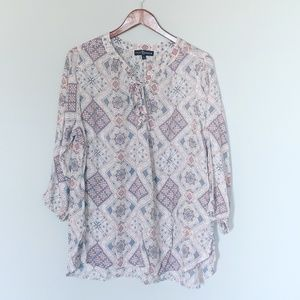 Fred David Plus Pastel Paisley Laced Blouse